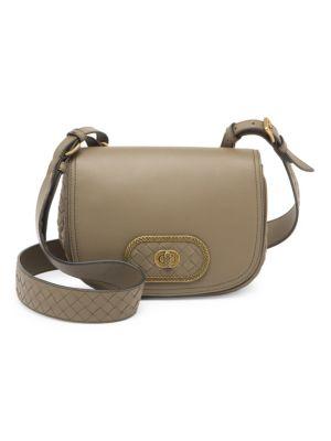 City Knot Leather Saddle Bag by Bottega Veneta