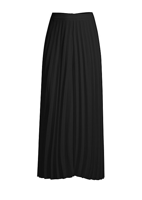 "Image of Allover accordion pleats shape skirt-like pants. Concealed back zip. Polyester/elastane. Hand wash. Made in Italy. SIZE & FIT. Wide leg silhouette. Ankle length. About 40"" from waist to hem. Model shown is 5'10"" (177cm) wearing US size 4."