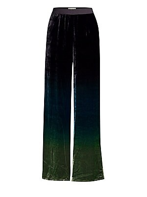 Image of Banded waist trousers in ombré velvet Concealed side zip Side seam pockets Viscose/silk Dry clean Made in Italy SIZE & FIT Wide leg silhouette Inseam, about 33 Model shown is 5'10 (177cm) wearing US size 4. Modern Collecti - Wear Collections. Beatrice B.