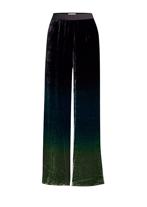 "Image of Banded waist trousers in ombre velvet. Concealed side zip. Side seam pockets. Viscose/silk. Dry clean. Made in Italy. SIZE & FIT. Wide leg silhouette. Inseam, about 33"".Model shown is 5'10"" (177cm) wearing US size 4."