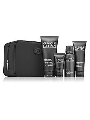 Image of $71.00 VALUE Skin-perfecting regimen for men. A $71.00 value. Clinique For Men™ Charcoal Face Wash delivers a deep-pore clean. Natural charcoal detoxes, draws out the dirt and excess oil that can clog pores. Soothing, non-drying lather gently foams
