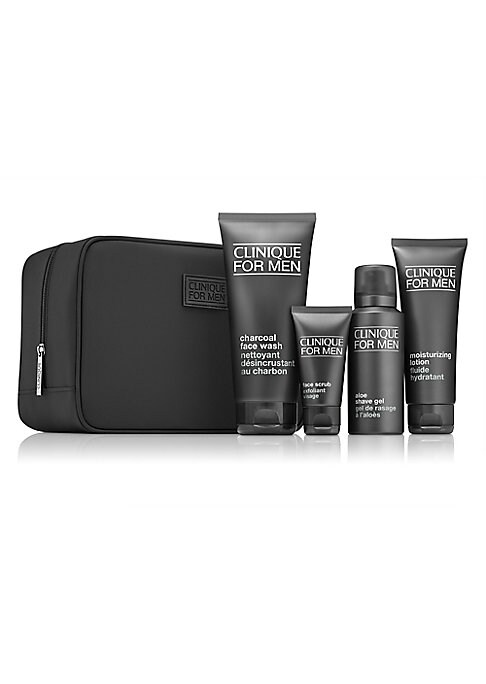 Image of $71.00 VALUE. Skin-perfecting regimen for men. A $71.00 value. Clinique For Men™ Charcoal Face Wash delivers a deep-pore clean. Natural charcoal detoxes, draws out the dirt and excess oil that can clog pores. Soothing, non-drying lather gently foams