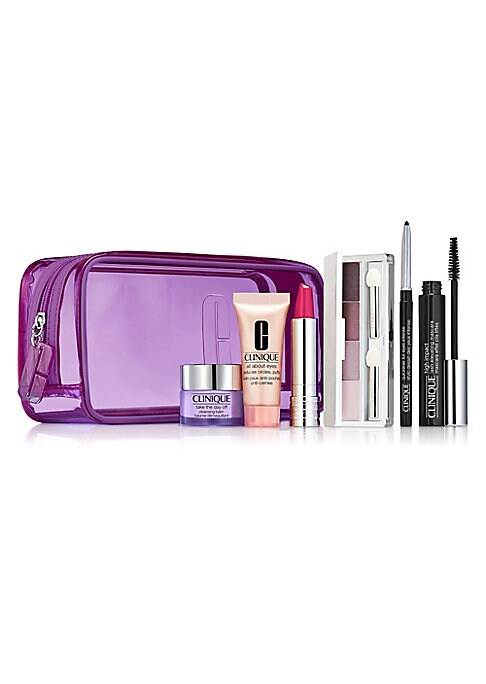 Image of $120.50 VALUE. Makeup kit for a pretty perfect party look. Includes Get The Look Card with easy how-to. A $120.50 value. Brighten eyes with All About Eyes™ lightweight eye cream. Diminishes the appearance of puffs, undereye circles. Helps hold eye m