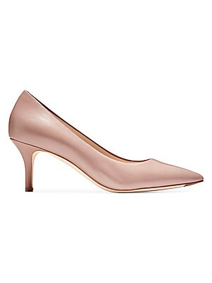 """Image of A glossy patent leather finish ups the glamour on these point toe pumps. Patent leather upper Point toe Slip-on style Leather lining and sole Imported SIZE Self-covered stiletto heel, 2.5"""" (65mm). Women's Shoes - Cole Haan Womens Shoes. Cole Haan. Color:"""