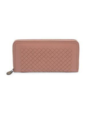Woven Leather Zip Around Wallet by Bottega Veneta
