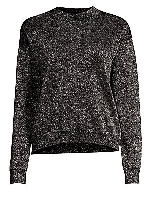 """Image of Allover sparkle adorns this wool-blend pullover with on-trend high-low hemline. Roundneck Long sleeves Drop shoulders Ribbed trim Pullover style Virgin wool/polyester/metalized Hand wash Imported SIZE & FIT High-low silhouette About 24"""" from shoulder to h"""