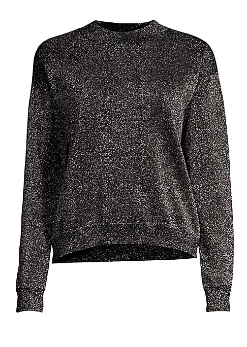 "Image of Allover sparkle adorns this wool-blend pullover with on-trend high-low hemline. Roundneck. Long sleeves. Drop shoulders. Ribbed trim. Pullover style. Virgin wool/polyester/metalized. Hand wash. Imported. SIZE & FIT. High-low silhouette. About 24"" from sho"