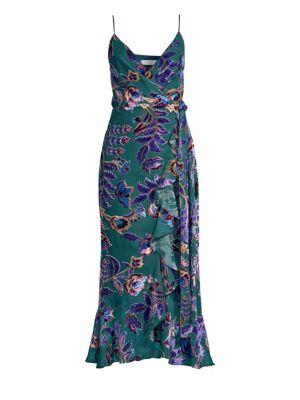 PATBO Burnout Velvet Wraparound Dress