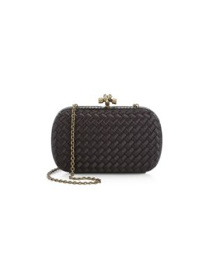Chain Knot Satin Clutch by Bottega Veneta