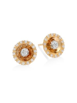 PLEVÉ Aura 18K Rose Gold & Diamond Stud Earrings