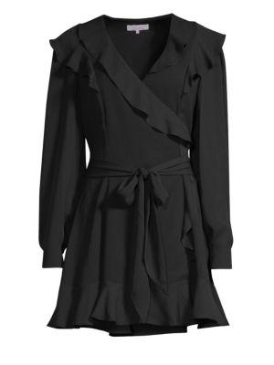PARKER Pauline Long-Sleeve Ruffle Mini Dress in Black