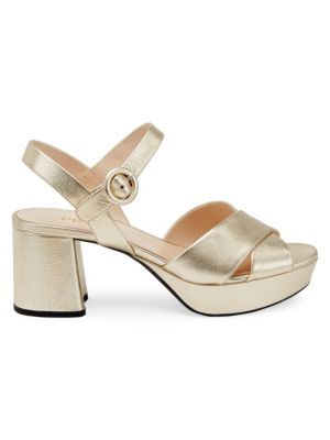 Metallic Crisscross Platform Sandals by Prada