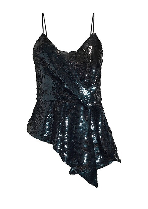 "Image of Allover sequin finish adorns this must-have wrap tank with asymmetric hemline.V-neck. Spaghetti straps. Sleeveless. Concealed back zip. Sequin details. Lined. Polyester/elastane. Hand wash. Imported. SIZE & FIT. About 31"" from shoulder to hem. Model shown"