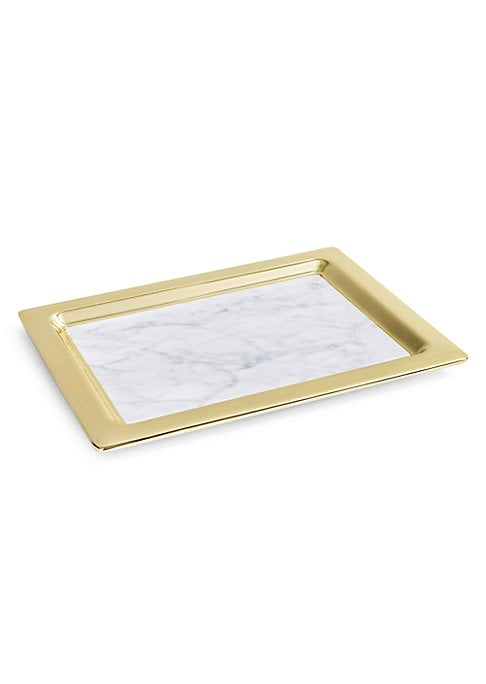 "Image of From the Dual collection. Polished serving tray that exudes gracious elegance. Marble/metal. Wipe clean. Imported. SIZE.17""W x 1""H x 13""D."