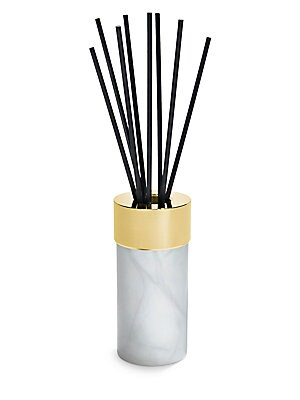 "Image of From the La Cire collection. Reed diffuser in an elegant keepsake vessel. Alabaster/metal Made in France SIZE 2.5""W x 5""H x 2.5""D. Gifts - Serveware. ANNA New York. Color: Alabaster Gold."