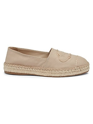 Image of Covetable cotton espadrilles with embroidered Prada logo and jute trim. Cotton upper Round toe Slip-on style Leather lining Jute midsole Rubber sole Made in Italy SIZE Sole, 20mm. Women's Shoes - Prada Womens Shoes. Prada. Color: Beige. Size: 36.5 (6.5).