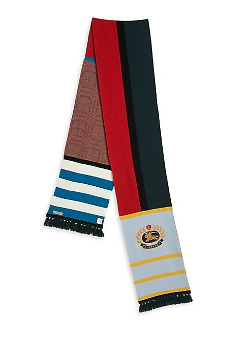 """Image of A longline scarf in a cashmere blend, sporting Vintage check and colour-block panels with an embroidered Burberry crest. Cashmere. Dry clean. Imported. SIZE.11.8""""W x 98.4""""L."""