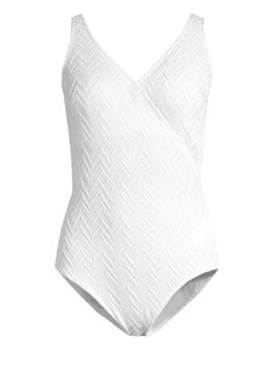 GOTTEX SWIM Surplice Textured One-Piece in White