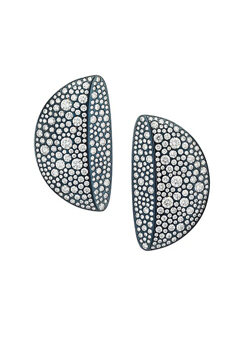 """Image of From the Eclisse Collection. Half moon silhouette clip-on earrings covered in sparking diamonds, finished with 18K white gold on the inner side. White diamonds, 7.42 tcw.18K white gold. Clip-on. Made in Italy. SIZE.0.86""""W x 1.5""""L."""