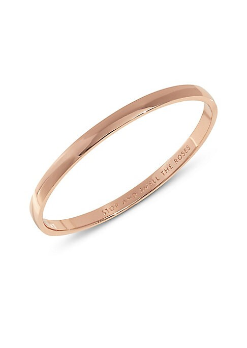 "Image of .A sleek, high-lustre bangle engraved with the inspirational idiom ""stop and smell the roses"". .12k rose gold-plated. .Width, about 0.25"". .Diameter, about 2.5"". .Dust bag included. .Imported. ."