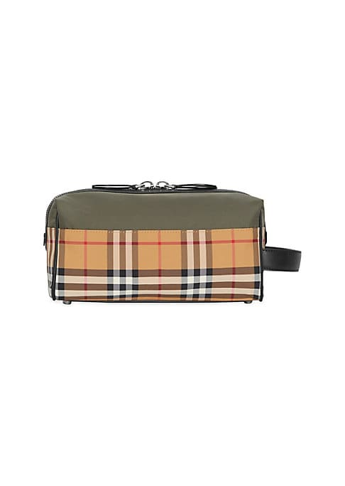"Image of A compact pouch in lightweight colorblock nylon, accented in our Vintage check and finished with leather trims. Two-way top zip closure. One interior slip pocket. Lined. Polyamide. Trim: Leather. Imported. SIZE. Side handle, 1.75"" drop.9.5""W x 4.75""H x 4."
