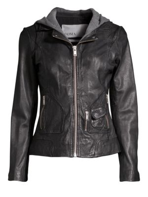 DOMA Hooded Leather Moto Jacket in Black