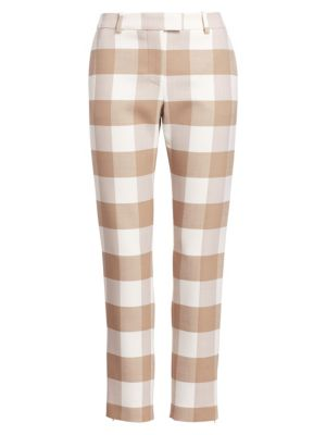 Cropped Gingham Wool-Blend Twill Skinny Pants in Beige