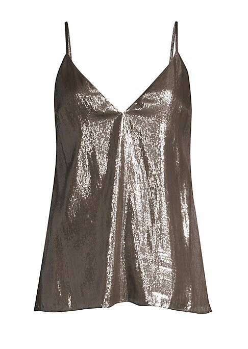 """Image of EXCLUSIVELY AT SAKS FIFTH AVENUE. Bold metallic tank top is a dazzling piece finished with a plunging neckline and thin spaghetti straps.V-neck. Adjustable spaghettis traps. Sleeveless. Pullover style. Silk. Dry clean. Imported. SIZE & FIT. About 24.5"""" fr"""