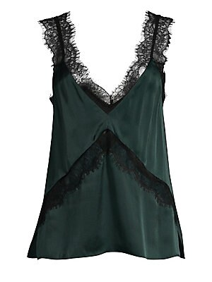 """Image of Flaunting delicate lace inserts and trim, this silky tank is boudoir-chic. V-neck Sleeveless Pullover style V-back Viscose/silk Trim: Nylon Hand wash Imported SIZE & FIT About 25"""" from shoulder to hem Model shown is 5'10 (177cm) wearing US size Small. Con"""