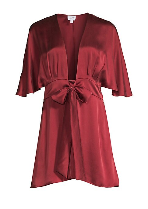 """Image of Constructed out of pure silk, this gorgeous mini dress flaunts a plunging neckline finished with a bow detail. Deep V-neck. Flutter sleeves. Concealed side zip closure with self-tie at waist. Silk. Hand wash. Imported. SIZE & FIT. About 33"""" from shoulder"""