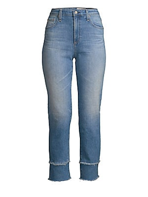"""Image of Built from stretch denim, these high-waisted jeans boast frayed double hems for a current silhouette. Belt loops Zip fly with button closure Five-pocket style Cotton/elastane Machine wash Made in USA SIZE & FIT Straight cropped leg Rise, about 10"""" Inseam,"""