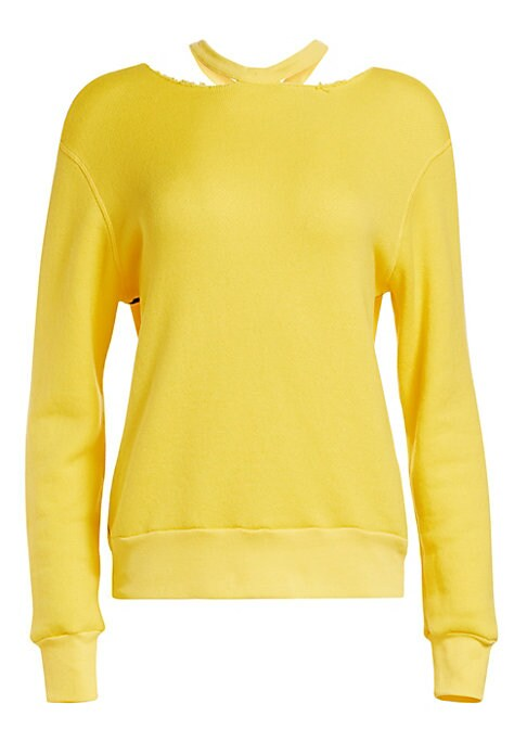 Image of A sportswear staple, the crewneck reverse-weave sweatshirt is revitalized by unexpected details for a modern athleisure look. With an attached pleated skirt panel in a lightweight sheer fabrication and a slashed neckline, this piece is a contemporary clas
