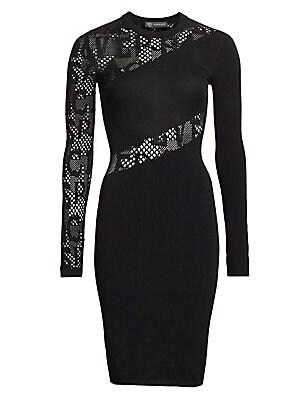 Mesh Cut Out Sheath Dress by Versace