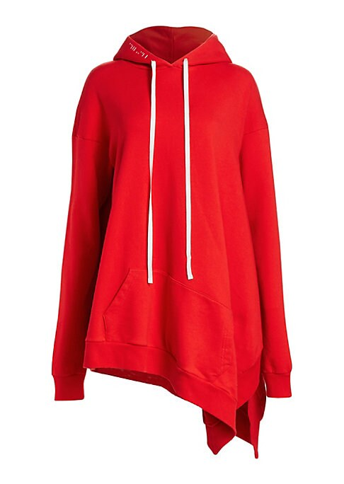 Image of A sportswear staple, the cotton hoodie is updated with bold details and premium styling for an elevated street style look. Featuring an exaggerated asymmetric hem and extra-long sleeves designed to pool at the wrists, this piece offers cozy comfort and st