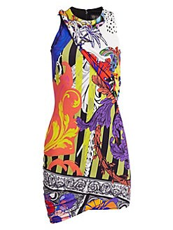 0e597e8e94a906 Versace. Sleeveless Printed Jersey Mini Dress