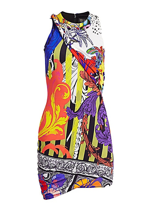 Image of This sheath dress features an allover multicolored pattern that is very 80s and very Versace. A rolled detail at the neckline paired with asymmetrical hems add texture and movement to the piece. Roundneck. Sleeveless. Concealed back zip closure. Asymmetri