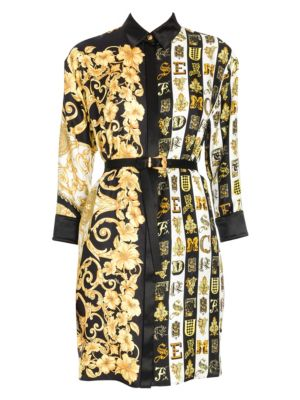 Hibiscus Print Belted Shirtdress Tunic in Black