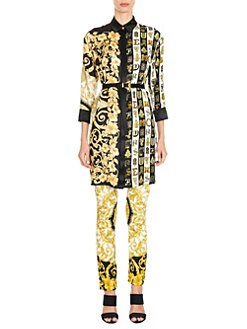 5c1612ff058 Versace. Hibiscus Print Belted Shirtdress Tunic