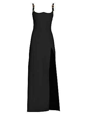 Buckle Strap Silk Cady Gown by Versace