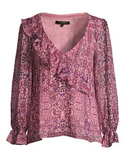 b59ff10ef08894 Product image. QUICK VIEW. Nanette Lepore. Tile Work Silk Blouse