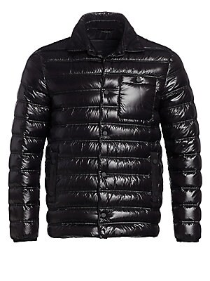 Image of An ultra-glossy finish adds futuristic appeal to this quilted jacket with a removable jacket as lining. Spread collar Long sleeves Button front Chest buttoned patch pocket Waist buttoned welt pockets Removable quilted lining with baseball collar and front