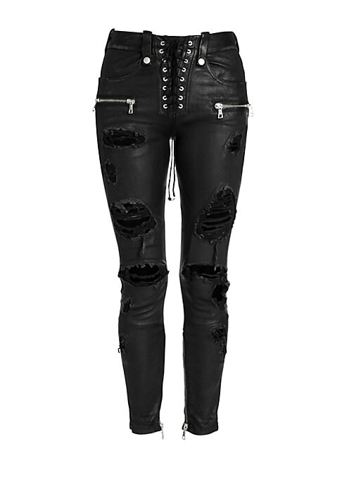 Image of Chunky zips, a lace-up fly and carefully distressing all add up to a skinny jean with an edgy moto aesthetic. A slick, leather-like finish on the pant enhances the look. Belt loops. Lace-up fly. Four pocket style. Front zippered welt pockets. Distressed d