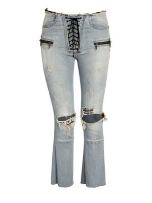 Unravel Project Distressed Lace Up Flare Jeans