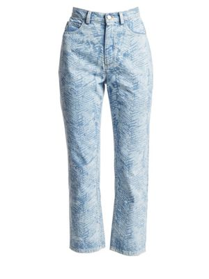 Rachel Comey Norm Zebra High-Rise Cropped Jeans