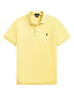 "Image of Timeless cotton blend polo with iconic embroidered logo at the chest. Three-button placket Short sleeves Ribbed trim Cotton/elastane Machine wash Imported SIZE & FIT About 27.5"" from shoulder to hem. Men Luxury Coll - Polo Blue Label. Polo Ralph Lauren. C"