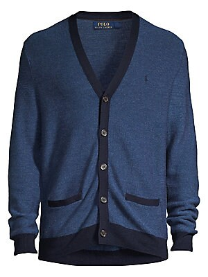 """Image of Timeless v-neck cardigan with sleek contrasting trim and crafted from a rich wool, silk and cashmere cardigan. Three button placket Long sleeves Button front placket Waist welt pockets Wool/silk/cashmere Hand wash Imported SIZE & FIT About 27.5"""" from shou"""