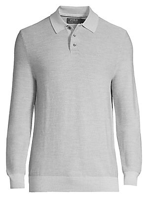 "Image of A luxuriously soft polo that can be dressed up or down for ultimate versatility. Three button placket Long sleeves Ribbed trim Wool/silk/cashmere Hand wash Imported SIZE & FIT About 27"" from shoulder to hem. Men Luxury Coll - Polo Blue Label > Saks Fifth"