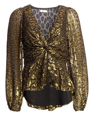 Logan Leopard-Pattern Silk-Blend Blouse - Black Size 12 in Black/Gold