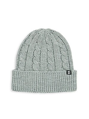 """Image of Essential for the season, this cuffed hat with cable knit design features ribbed brim. Acrylic Hand wash Imported SIZE 9""""L x 9""""H. Men Accessories - Fashion Accessories > Saks Fifth Avenue. Block Headwear. Color: Light Heather Grey."""