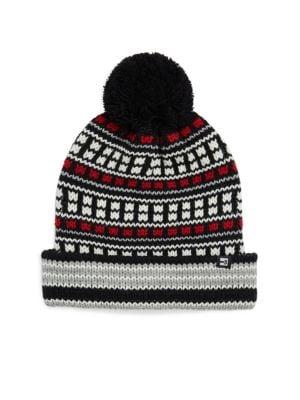 BLOCK HEADWEAR Fairisle Cuff Pom-Pom Hat in Black